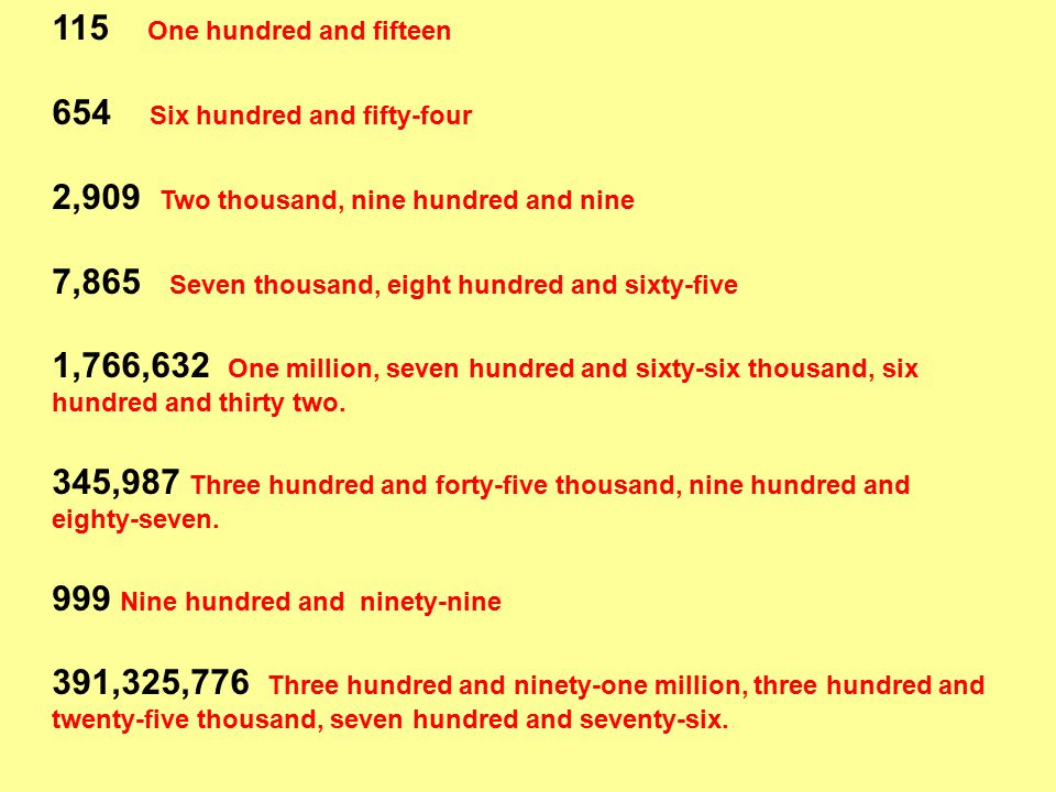 115 One hundred and fifteen 654 Six hundred and fifty-four 2,909 Two thousand, nine hundred and nine 7,865 Seven thousand, eight hundred and sixty-five 1,766,632 One million, seven hundred and sixty-six thousand, six hundred and thirty two.