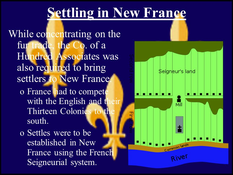 Settling in New France While concentrating on the fur trade, the Co.