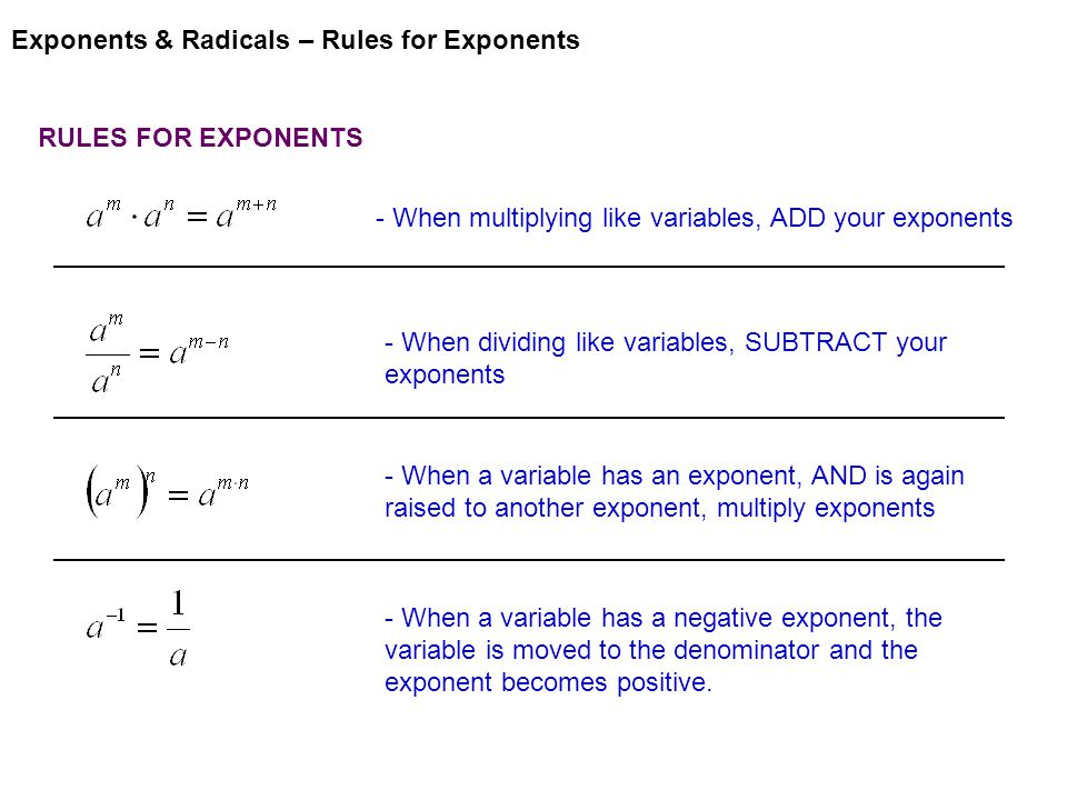 Exponents & Radicals – Rules for Exponents RULES FOR EXPONENTS - When multiplying like variables, ADD your exponents - When dividing like variables, SUBTRACT your exponents - When a variable has an exponent, AND is again raised to another exponent, multiply exponents - When a variable has a negative exponent, the variable is moved to the denominator and the exponent becomes positive.
