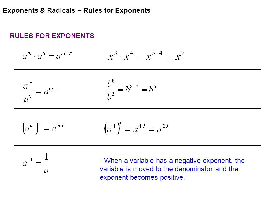 Exponents & Radicals – Rules for Exponents RULES FOR EXPONENTS - When a variable has a negative exponent, the variable is moved to the denominator and the exponent becomes positive.