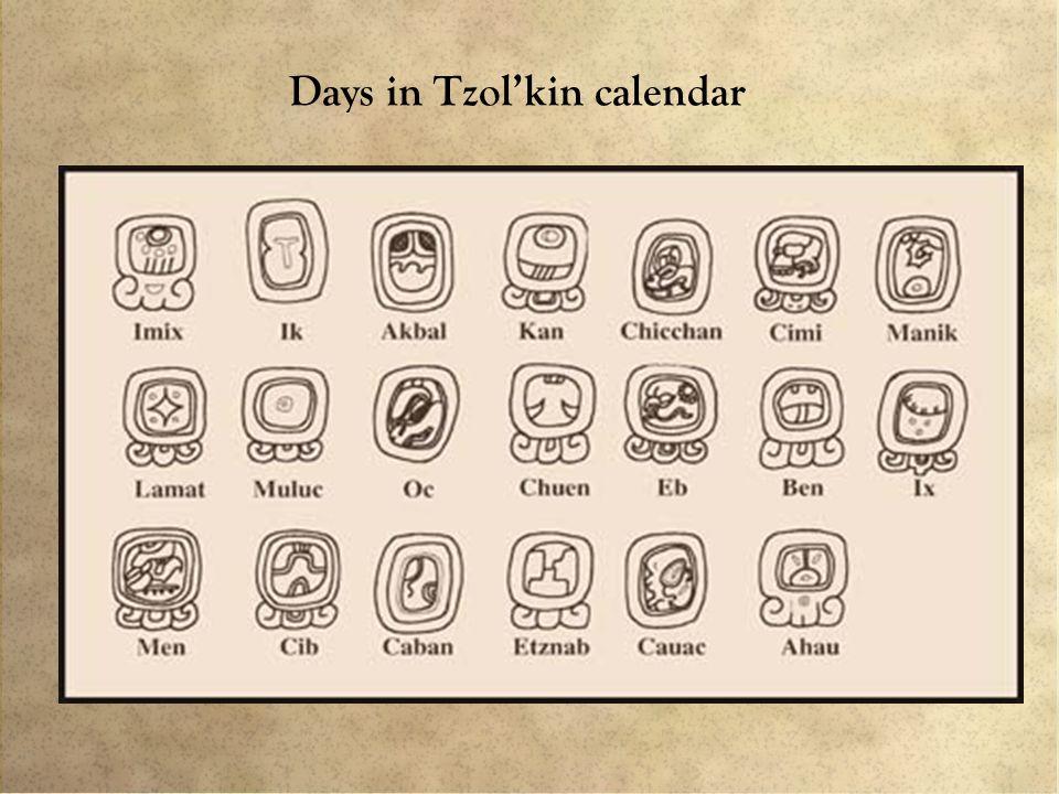 Days in Tzol'kin calendar
