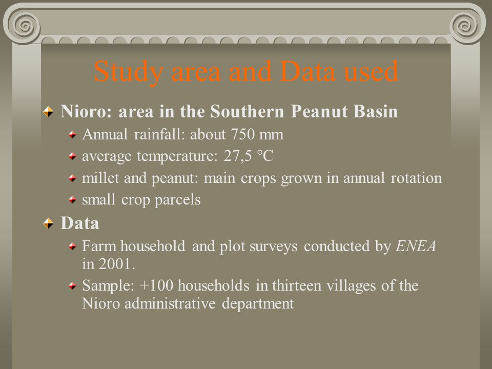 Study area and Data used Nioro: area in the Southern Peanut Basin Annual rainfall: about 750 mm average temperature: 27,5 °C millet and peanut: main crops grown in annual rotation small crop parcels Data Farm household and plot surveys conducted by ENEA in 2001.