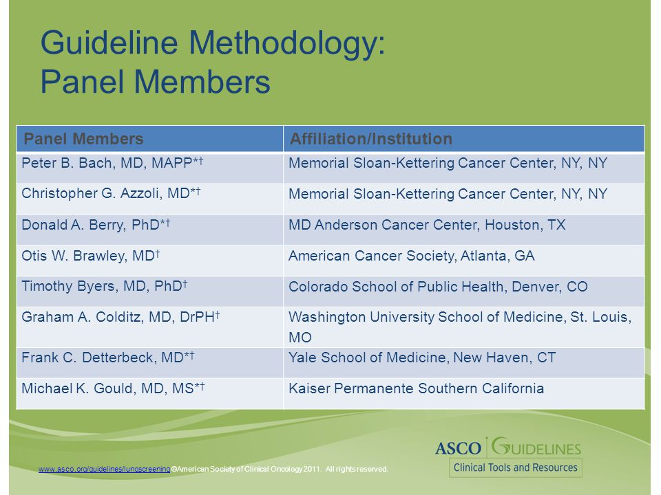 www.asco.org/guidelines/lungscreeningwww.asco.org/guidelines/lungscreening ©American Society of Clinical Oncology 2011.