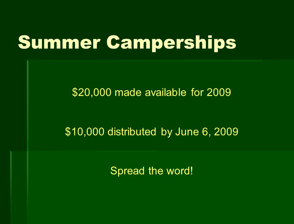 Summer Camperships $20,000 made available for 2009 $10,000 distributed by June 6, 2009 Spread the word!