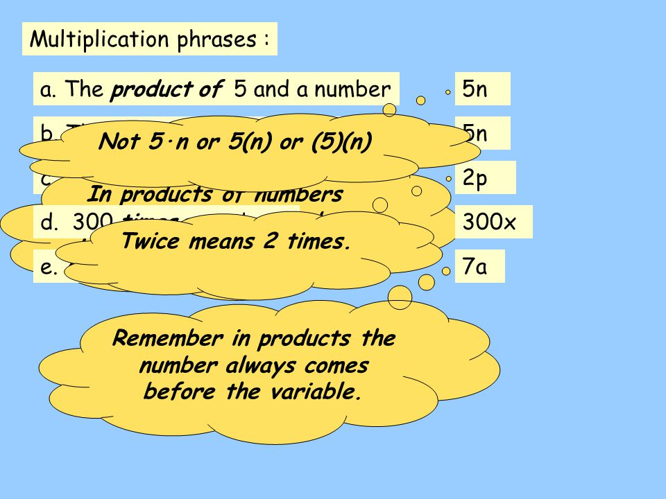Multiplication phrases : c. Twice a number2p a. The product of 5 and a number5n b. The product of a number and 55n In products of numbers and variable