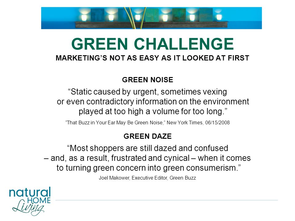 "GREEN CHALLENGE MARKETING'S NOT AS EASY AS IT LOOKED AT FIRST GREEN NOISE ""Static caused by urgent, sometimes vexing or even contradictory information"