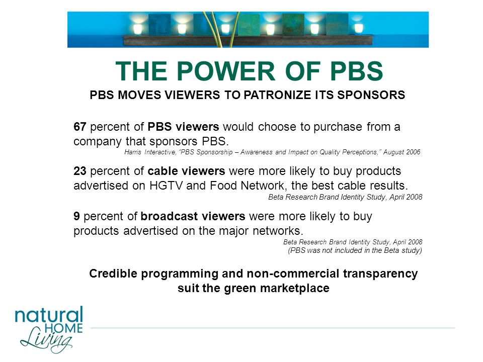 "67 percent of PBS viewers would choose to purchase from a company that sponsors PBS. Harris Interactive, ""PBS Sponsorship – Awareness and Impact on Qu"