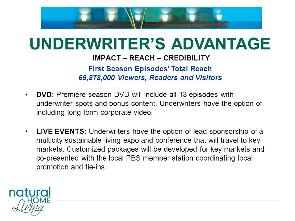 DVD: Premiere season DVD will include all 13 episodes with underwriter spots and bonus content. Underwriters have the option of including long-form co