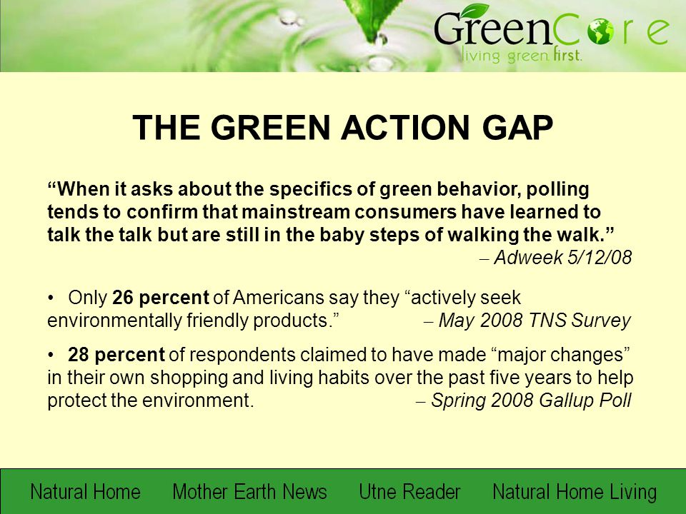 """When it asks about the specifics of green behavior, polling tends to confirm that mainstream consumers have learned to talk the talk but are still in"