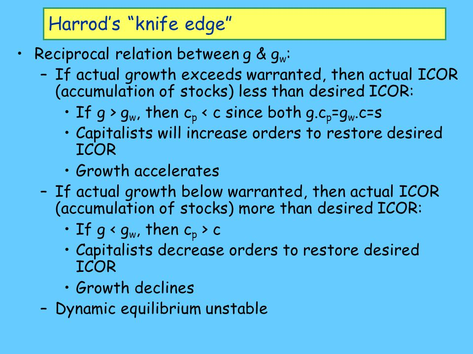 """Harrod's """"knife edge"""" Reciprocal relation between g & g w : –If actual growth exceeds warranted, then actual ICOR (accumulation of stocks) less than d"""