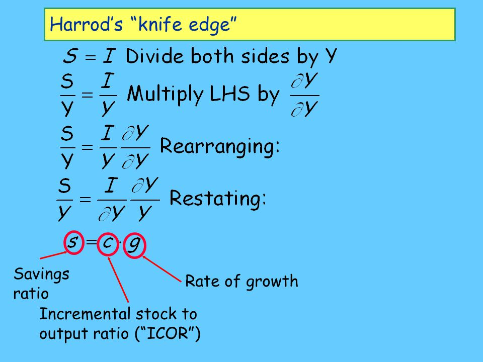 "Harrod's ""knife edge"" Savings ratio Incremental stock to output ratio (""ICOR"") Rate of growth"