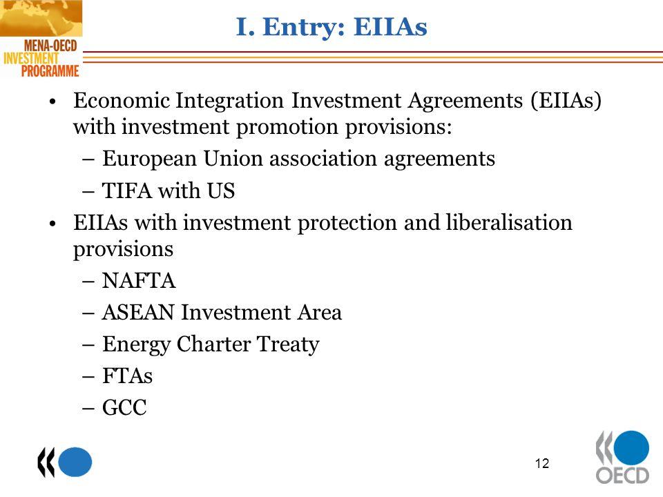 I. Entry: EIIAs Economic Integration Investment Agreements (EIIAs) with investment promotion provisions: –European Union association agreements –TIFA
