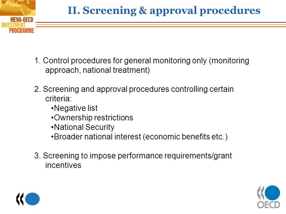 II.Screening & approval procedures 1.