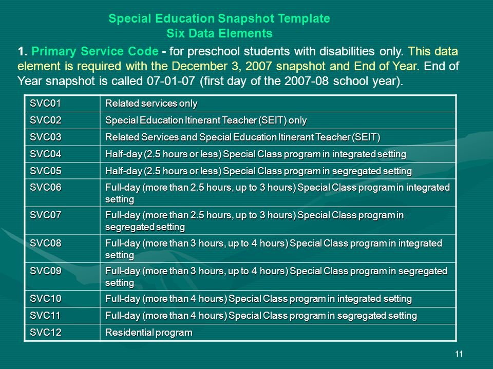 11 Special Education Snapshot Template Six Data Elements SVC01 Related services only SVC02 Special Education Itinerant Teacher (SEIT) only SVC03 Related Services and Special Education Itinerant Teacher (SEIT) SVC04 Half-day (2.5 hours or less) Special Class program in integrated setting SVC05 Half-day (2.5 hours or less) Special Class program in segregated setting SVC06 Full-day (more than 2.5 hours, up to 3 hours) Special Class program in integrated setting SVC07 Full-day (more than 2.5 hours, up to 3 hours) Special Class program in segregated setting SVC08 Full-day (more than 3 hours, up to 4 hours) Special Class program in integrated setting SVC09 Full-day (more than 3 hours, up to 4 hours) Special Class program in segregated setting SVC10 Full-day (more than 4 hours) Special Class program in integrated setting SVC11 Full-day (more than 4 hours) Special Class program in segregated setting SVC12 Residential program 1.