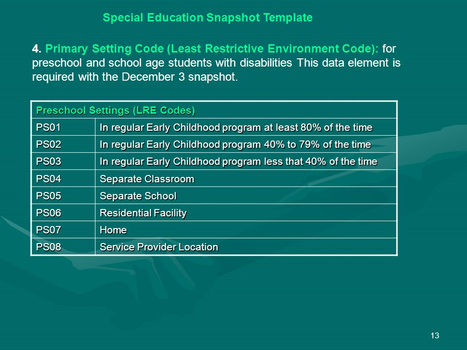 13 Special Education Snapshot Template 4.