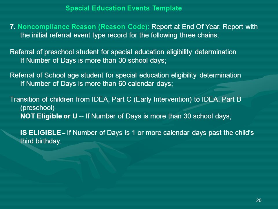 20 Special Education Events Template 7. Noncompliance Reason (Reason Code): Report at End Of Year.