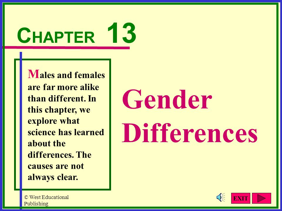 © West Educational Publishing Gender Concepts Gender Identity Gender Roles Gender Stereotypes Click the buttons for more information.
