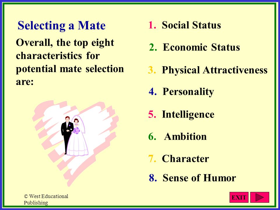 © West Educational Publishing Selecting a Mate Overall, the top eight characteristics for potential mate selection are: 1. Social Status 2. Economic S