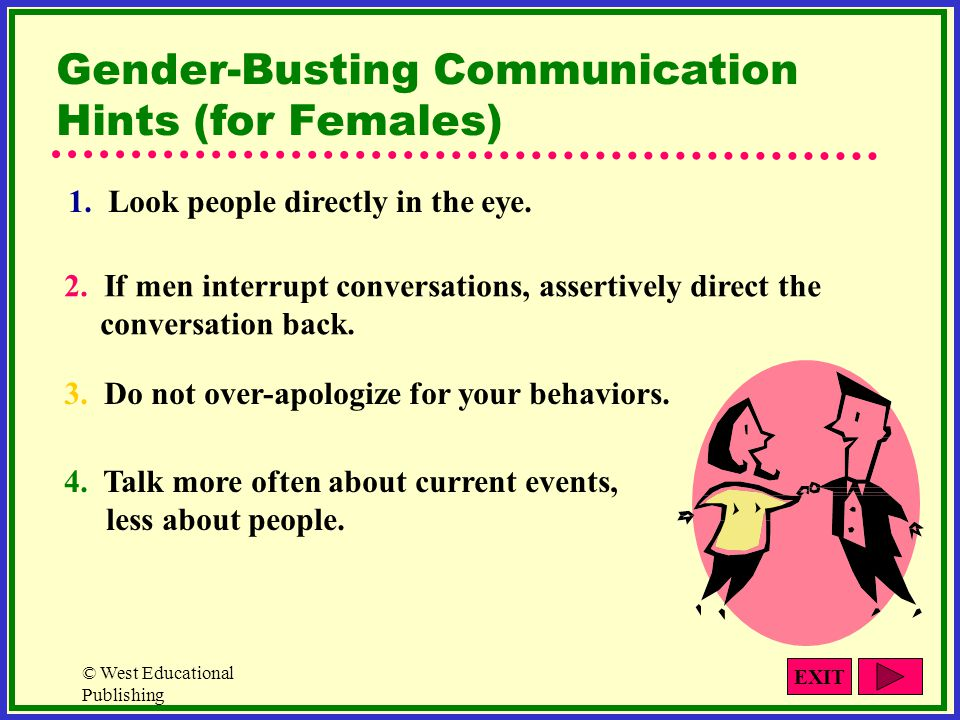 © West Educational Publishing 1. Look people directly in the eye. 2. If men interrupt conversations, assertively direct the conversation back. 3. Do n
