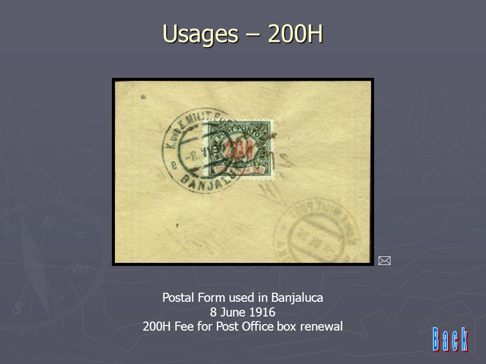 Usages – 200H  Postal Form used in Banjaluca 8 June 1916 200H Fee for Post Office box renewal