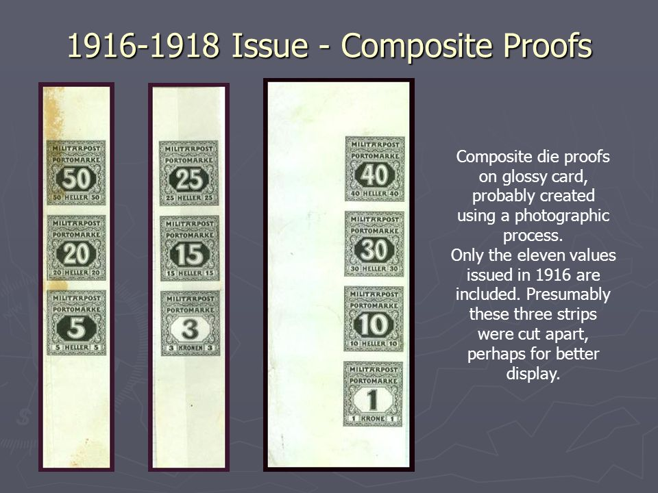 1916-1918 Issue - Composite Proofs Composite die proofs on glossy card, probably created using a photographic process.