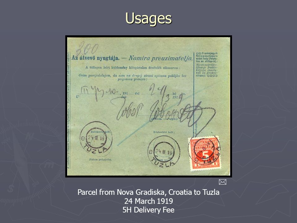 Parcel from Nova Gradiska, Croatia to Tuzla 24 March 1919 5H Delivery Fee Usages