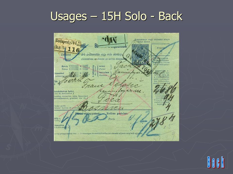 Usages – 15H Solo - Back