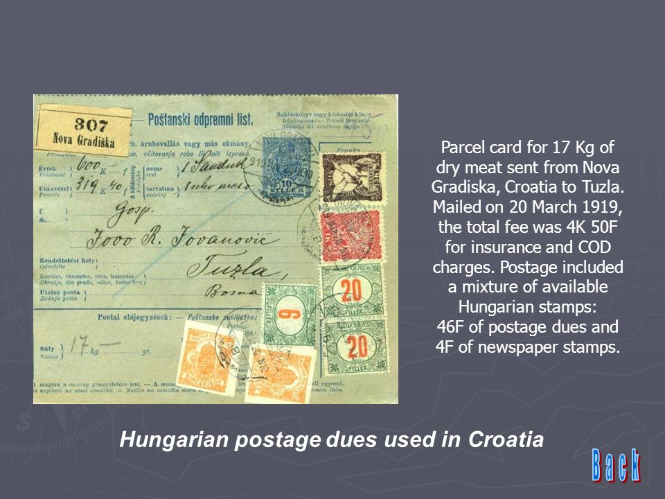 Parcel card for 17 Kg of dry meat sent from Nova Gradiska, Croatia to Tuzla.