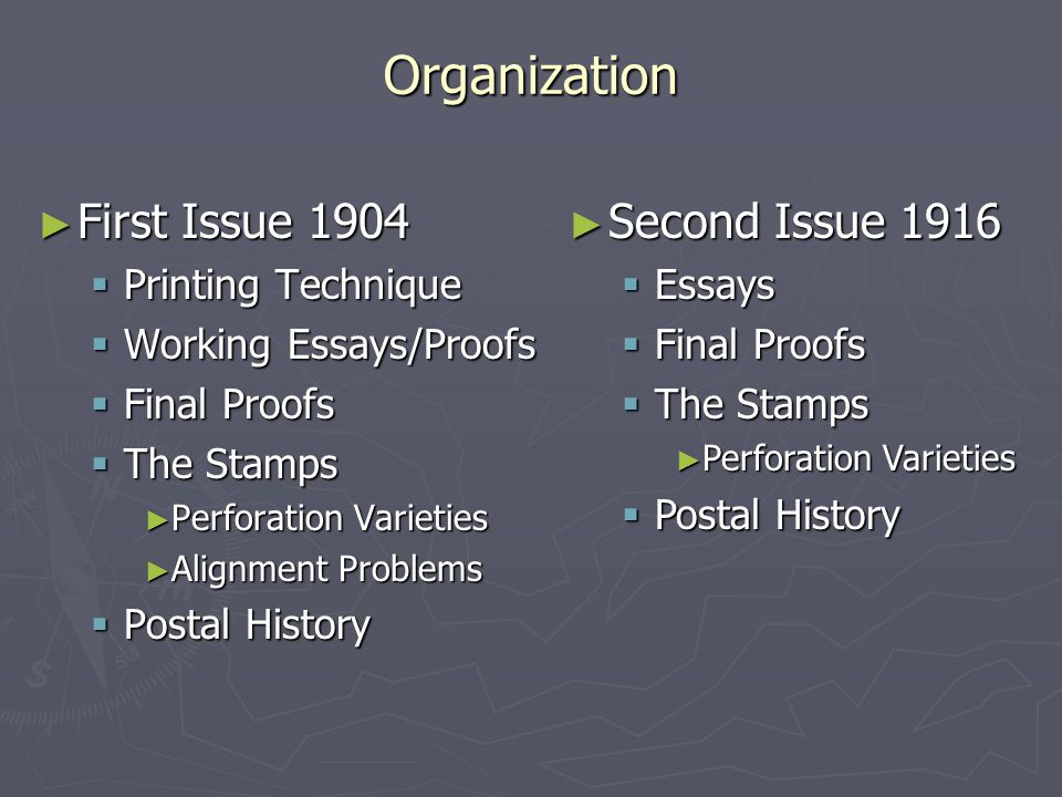 ► First Issue 1904  Printing Technique  Working Essays/Proofs  Final Proofs  The Stamps ► Perforation Varieties ► Alignment Problems  Postal History ► Second Issue 1916  Essays  Final Proofs  The Stamps ► Perforation Varieties  Postal History Organization