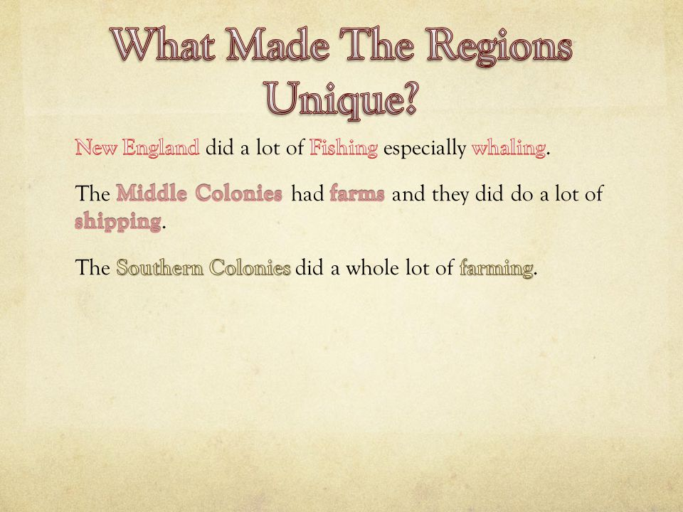New England Colonies Massachusetts Connecticut New Hampshire Rhode Island Middle Colonies New York Pennsylvania New Jersey Delaware Southern Colonies