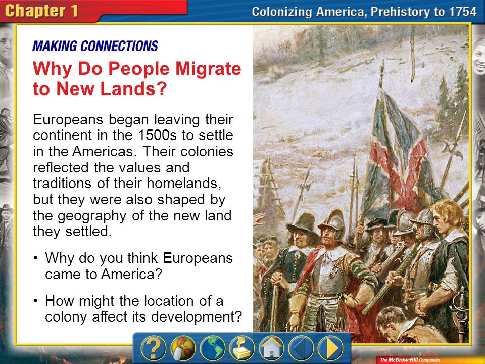 Chapter Intro Why Do People Migrate to New Lands? Europeans began leaving their continent in the 1500s to settle in the Americas. Their colonies refle