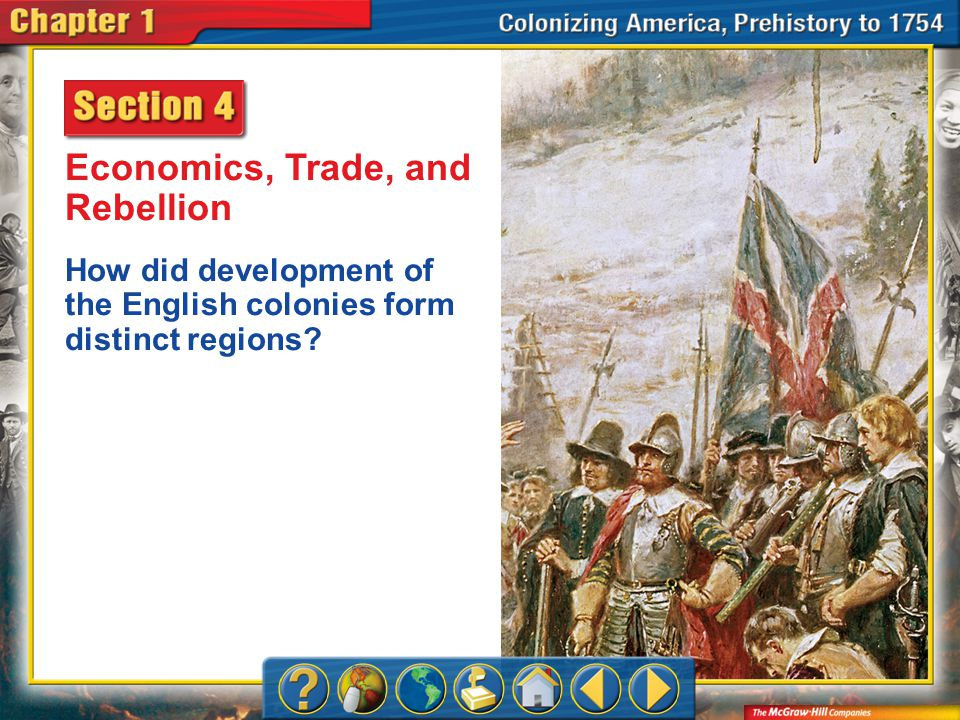 Chapter Intro 4 Economics, Trade, and Rebellion How did development of the English colonies form distinct regions?