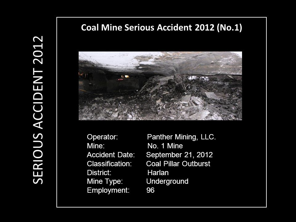 Coal Mine Serious Accident 2012 (No.1) Operator: Panther Mining, LLC.