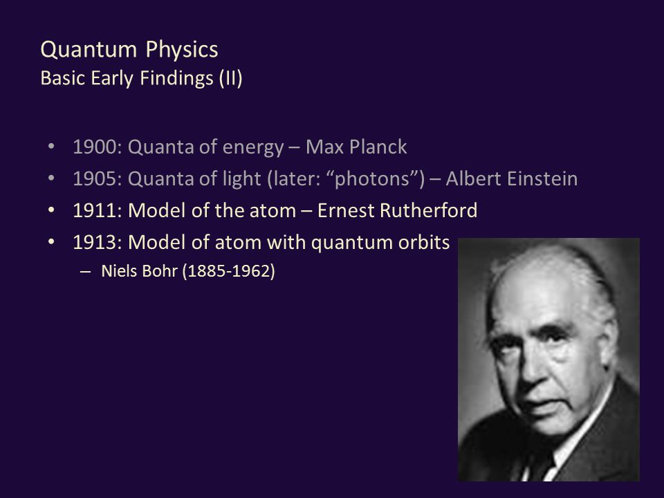 Quantum Physics Basic Early Findings (II) 1900: Quanta of energy – Max Planck 1905: Quanta of light (later: photons ) – Albert Einstein 1911: Model of the atom – Ernest Rutherford 1913: Model of atom with quantum orbits – Niels Bohr (1885-1962) 19