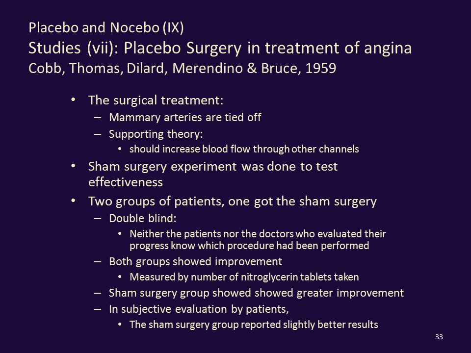 Placebo and Nocebo (IX) Studies (vii): Placebo Surgery in treatment of angina Cobb, Thomas, Dilard, Merendino & Bruce, 1959 The surgical treatment: –