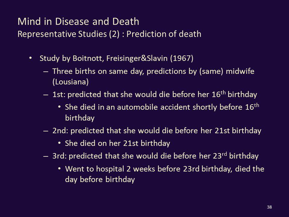 Mind in Disease and Death Representative Studies (2) : Prediction of death Study by Boitnott, Freisinger&Slavin (1967) – Three births on same day, pre