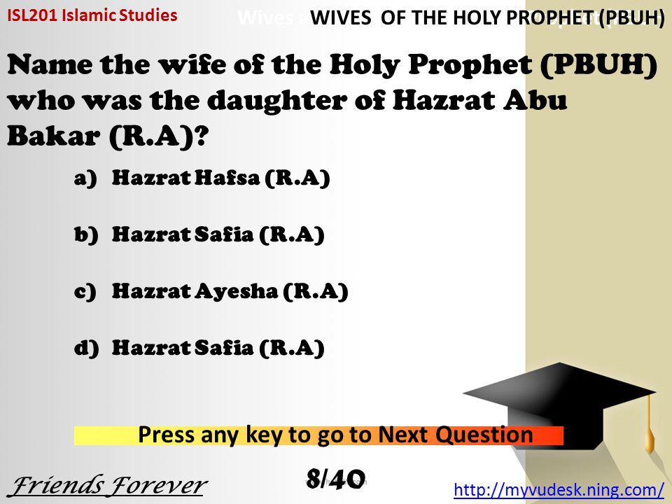 Name the wife of the Holy Prophet (PBUH) who was the daughter of Hazrat Abu Bakar (R.A).