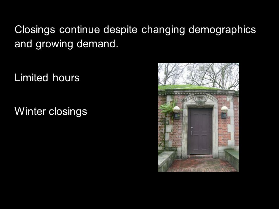 Closings continue despite changing demographics and growing demand. Limited hours Winter closings