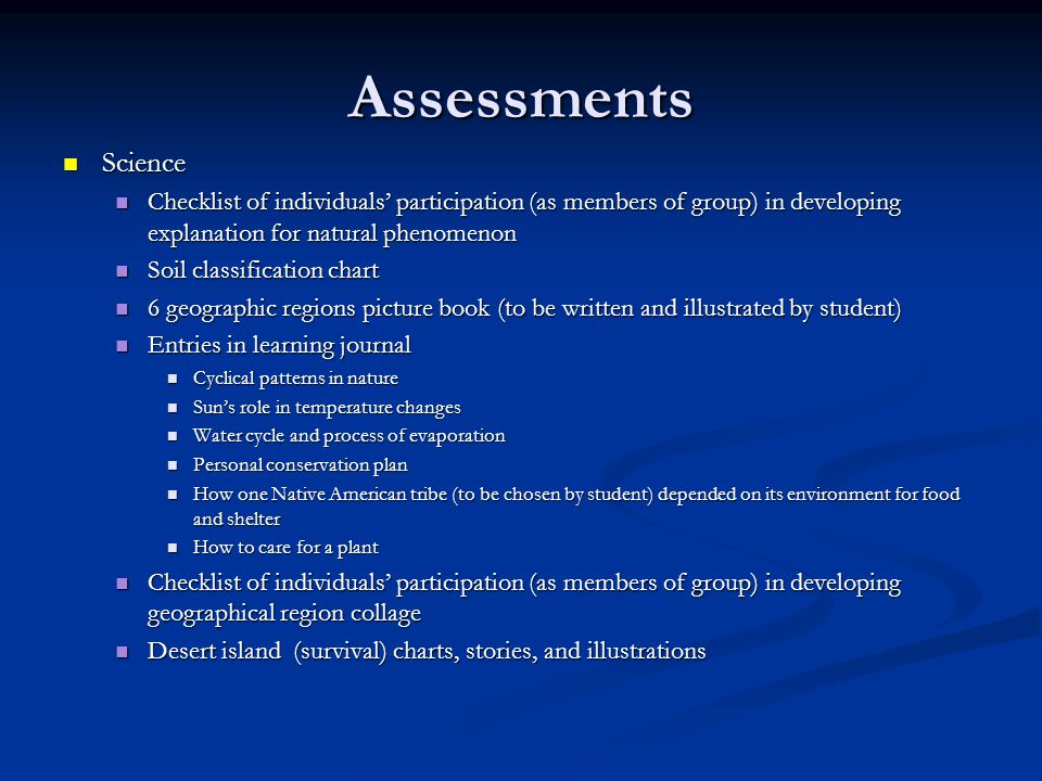 Assessments Science Science Checklist of individuals' participation (as members of group) in developing explanation for natural phenomenon Checklist o