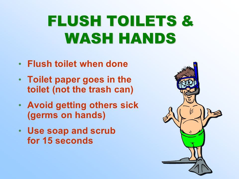 FLUSH TOILETS & WASH HANDS FLUSH TOILETS & WASH HANDS Flush toilet when done Toilet paper goes in the toilet (not the trash can) Avoid getting others sick (germs on hands) Use soap and scrub for 15 seconds Flush toilet when done Toilet paper goes in the toilet (not the trash can) Avoid getting others sick (germs on hands) Use soap and scrub for 15 seconds