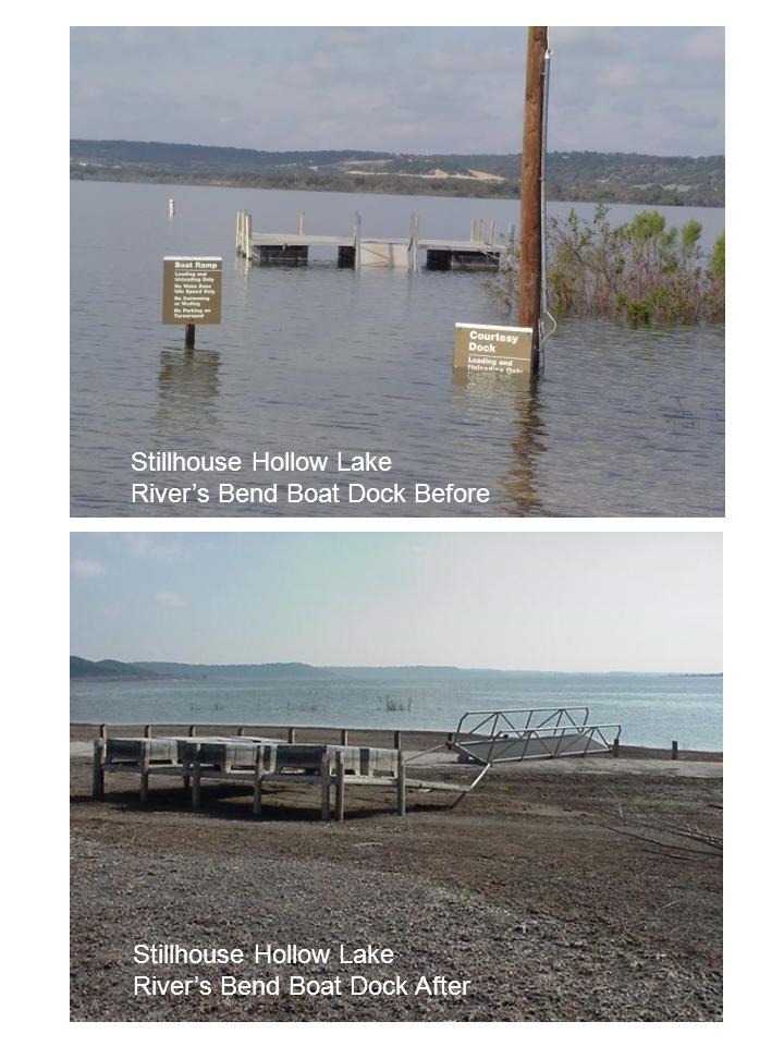 Stillhouse Hollow Lake River's Bend Boat Dock Before Stillhouse Hollow Lake River's Bend Boat Dock After