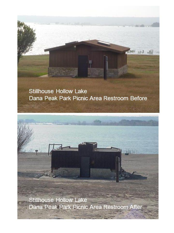 Stillhouse Hollow Lake Dana Peak Park Picnic Area Restroom Before Stillhouse Hollow Lake Dana Peak Park Picnic Area Restroom After