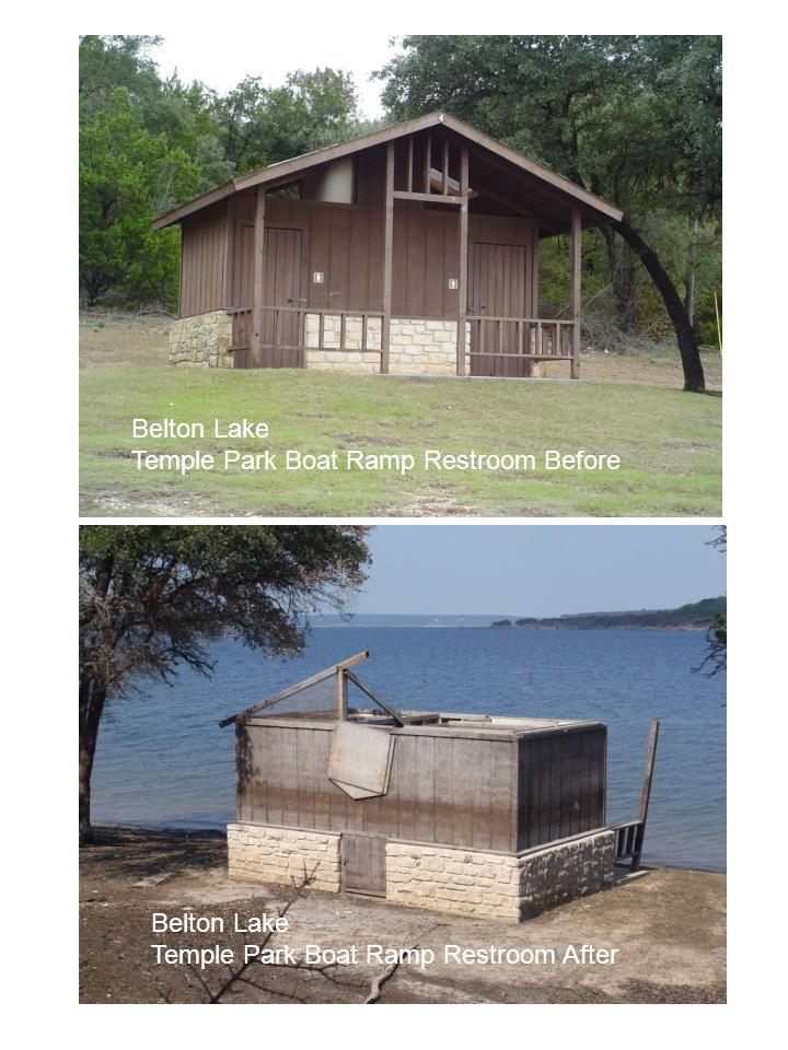 Belton Lake Temple Park Boat Ramp Restroom Before Belton Lake Temple Park Boat Ramp Restroom After