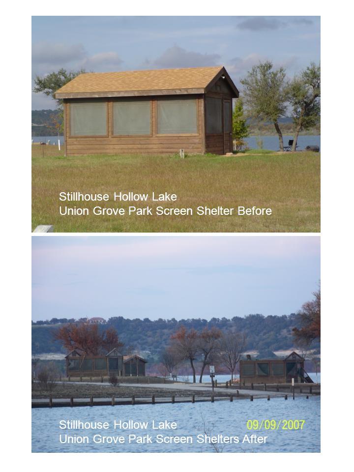 Stillhouse Hollow Lake Union Grove Park Screen Shelter Before Stillhouse Hollow Lake Union Grove Park Screen Shelter After Stillhouse Hollow Lake Unio