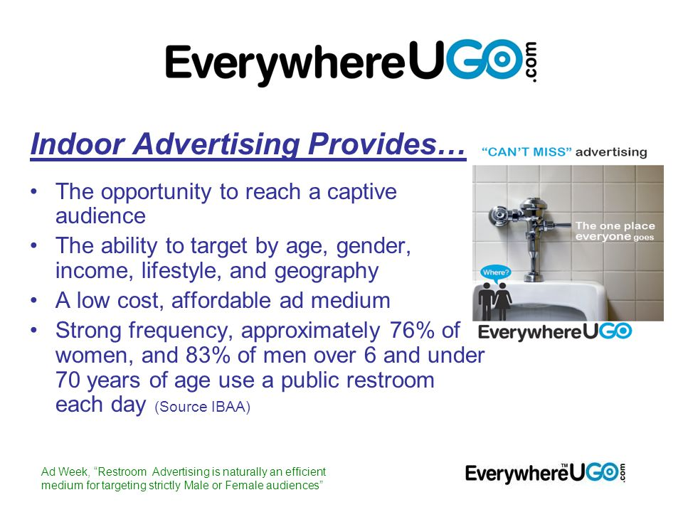 Indoor Advertising Provides… The opportunity to reach a captive audience The ability to target by age, gender, income, lifestyle, and geography A low cost, affordable ad medium Strong frequency, approximately 76% of women, and 83% of men over 6 and under 70 years of age use a public restroom each day (Source IBAA) Ad Week, Restroom Advertising is naturally an efficient medium for targeting strictly Male or Female audiences