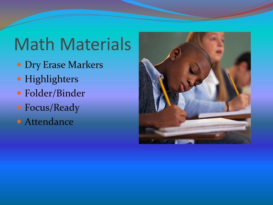 Math Materials Dry Erase Markers Highlighters Folder/Binder Focus/Ready Attendance