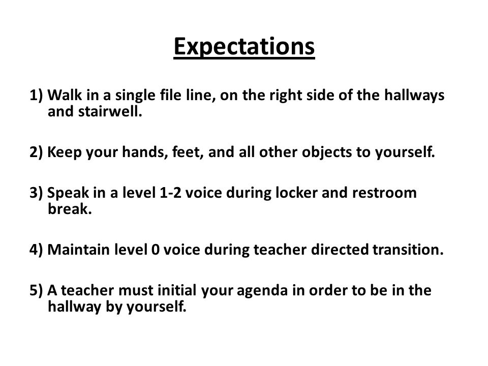 Expectations 1) Walk in a single file line, on the right side of the hallways and stairwell. 2) Keep your hands, feet, and all other objects to yourse
