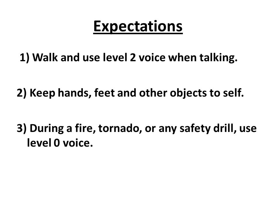 Expectations 1) Walk and use level 2 voice when talking. 2) Keep hands, feet and other objects to self. 3) During a fire, tornado, or any safety drill