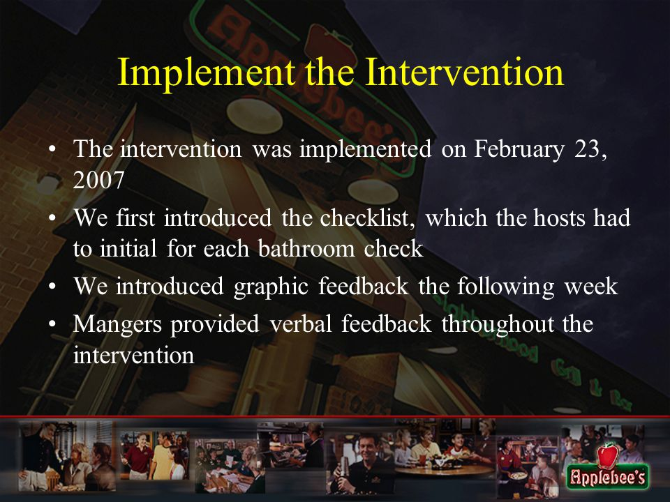Implement the Intervention The intervention was implemented on February 23, 2007 We first introduced the checklist, which the hosts had to initial for each bathroom check We introduced graphic feedback the following week Mangers provided verbal feedback throughout the intervention
