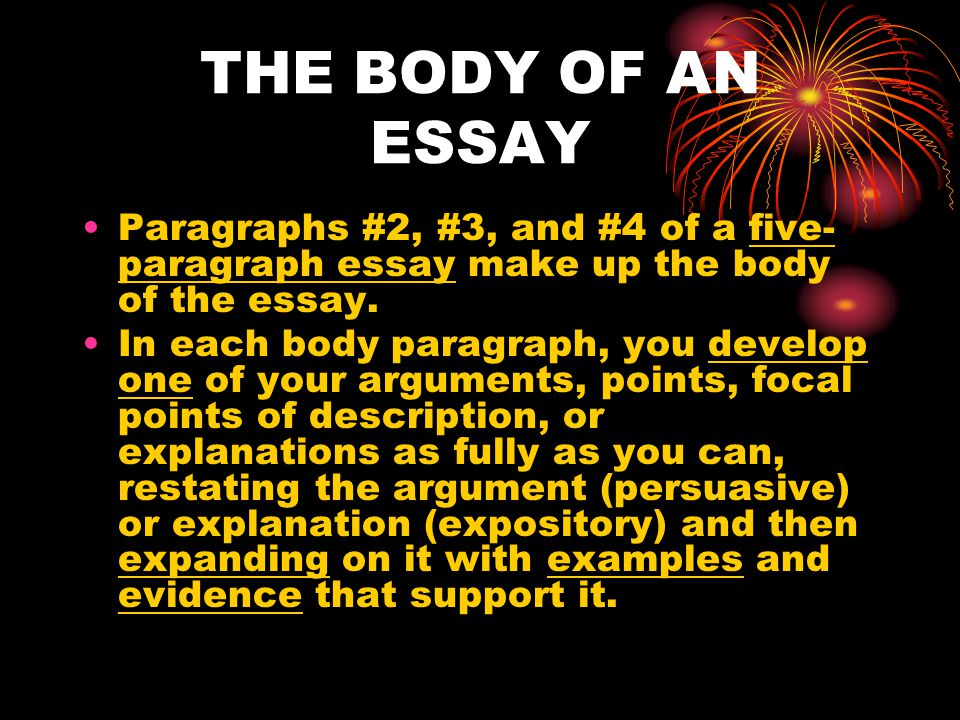 BODY CONT'D These are the most important paragraphs in the grading of the Florida Writes Test.